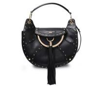 Tasseled Studded Leather Shoulder Bag Black Size --