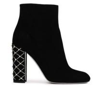 Embellished Suede Ankle Boots Black