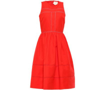 Gathered Cotton And Silk-blend Dress Tomato Red