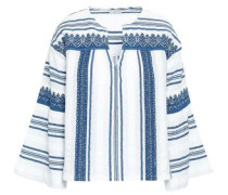 Embroidered Cotton-gauze Tunic Light Blue