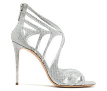 Cutout metallic mesh sandals