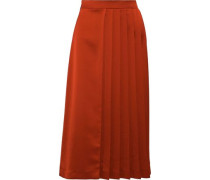 Pleated Satin Midi Skirt Brick