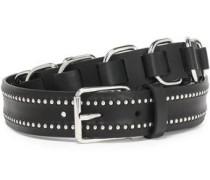 Buckle-embellished Studded Braided-leather Belt Black  5