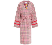 Fringe-trimmed Prince Of Wales Checked Cotton-blend Coat Pink