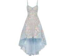 Asymmetric embroidered tulle gown