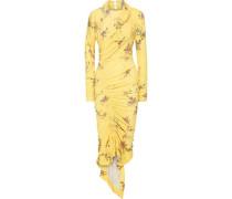 Louise Asymmetric Floral-print Crepe-jersey Midi Dress Yellow