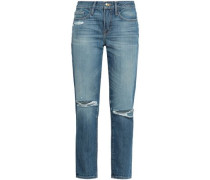 Le Boy Distressed Mid-rise Slim-leg Jeans Light Denim  3
