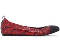 Leather Ballet Flats Merlot