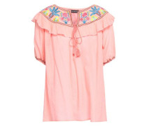 Embroidered Cotton-gauze Top Peach