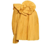 One-shoulder Pleated Woven Top Marigold