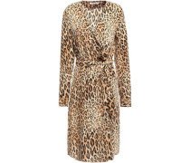 Double-breasted Leopard-print Silk Crepe De Chine Dress Animal Print