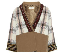 Embellished Checked Cotton-blend Canvas Jacket Tan