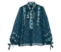 Cosmos Pussy-bow Crinkled-chiffon Blouse Petrol