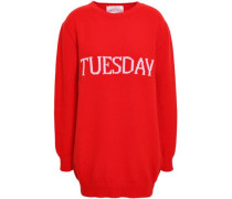 Intarsia Wool And Cashmere-blend Sweater Tomato Red