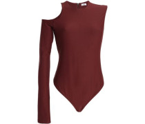 Cold-shoulder stretch-knit bodysuit