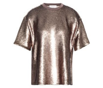 Sequined Jersey Top Bronze