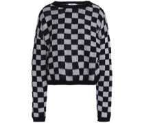 Checked cotton-blend sweater