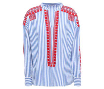 Jackie Embroidered Striped Cotton-poplin Blouse Light Blue