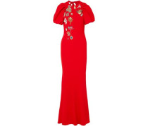 Embellished cutout crepe maxi dress