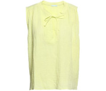 Lucia Bow-detailed Crinkled-gauze Pajama Top Chartreuse