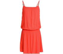 Gathered Jersey Mini Dress Coral