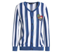 Appliquéd Striped Cotton-blend Cardigan Royal Blue