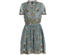 Embellished Embroidered Tulle Mini Dress Grey Green