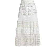 Lace-trimmed metallic fil coupé crepe de chine midi skirt
