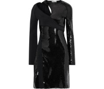 Cutout Sequin-embellished Satin-crepe Mini Dress Black