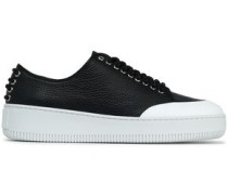 Netil Textured-leather Platform Sneakers Black