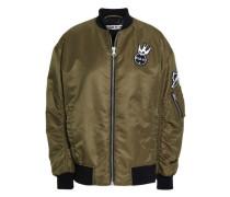 Appliquéd shell bomber jacket