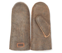 Burnished Shearling Mittens Camel Size ONESIZE