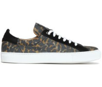 Suede-trimmed Leopard-print Leather Sneakers Animal Print