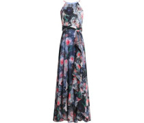 Ruffled floral-print crepe de chine gown