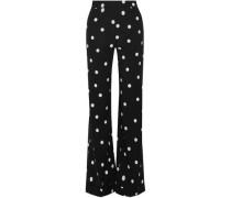 Polka-dot silk-blend wide-leg pants