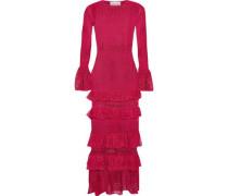 Tiered Pointelle-knit Midi Dress Fuchsia