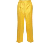 Silk-shantung straight-leg pants