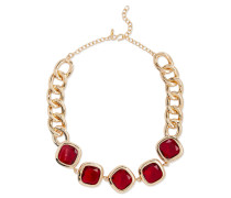 Woman Gold-tone Crystal Necklace Red