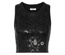 Embroidered Coated Top Black