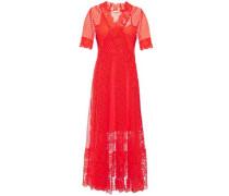 Woman Paneled Cotton-blend Point D'esprit And Guipure Lace Midi Dress Coral