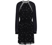 Embellished Chiffon Mini Dress Black