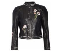 Kinu studded embroidered leather jacket