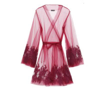 Belted Embroidered Tulle Robe Plum