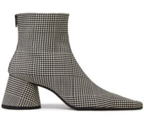Prince Of Wales Checked Wool-blend Ankle Boots Black
