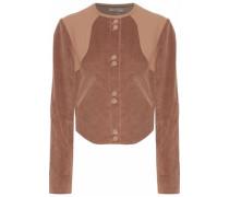 Leather-paneled Cotton-blend Corduroy Jacket Light Brown