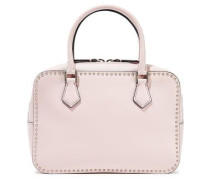 Stud Stitching Leather Shoulder Bag Pastel Pink Size --