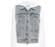 Denim-paneled Cotton-fleece Hooded Jacket White