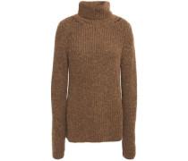 Woman Ribbed Alpaca-blend Turtleneck Sweater Light Brown