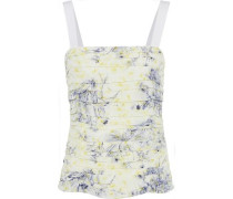 Rian Ruched Floral-print Silk Top Ivory