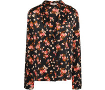 Leomie Floral-print Stretch-silk Satin Shirt Black Size 0